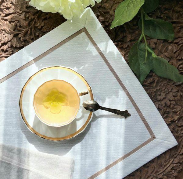 Салфетка сервировочная 2 шт. белая с коричневым кантом