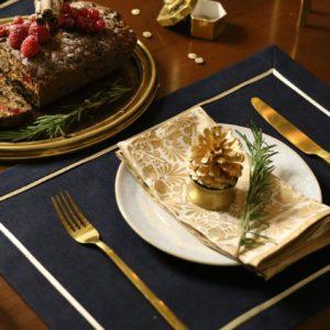 Салфетка сервировочная 2 шт. синяя с ярко-золотым кантом