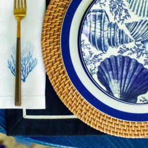 Салфетка сервировочная 2 шт. синяя с бежевым кантом