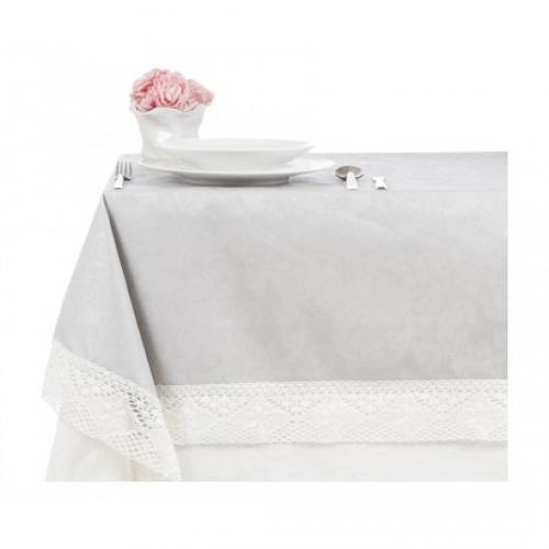 Скатерть Фиандра резинато,на 6 персон серый