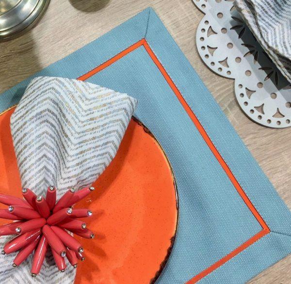 Салфетка сервировочная 2 шт.бирюза с коралловым кантом