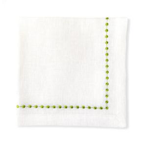 Салфетка Бусы к-т 2 шт белый с вышивкой зеленый